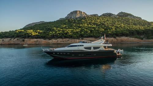 M y tsouvali posillipo 88 7 feet luxury crewed motor yacht for Motor boat rental greece