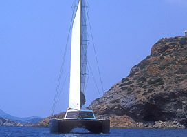 Catamaran charter Greece crewed with skipper and hostess NOTOS 16