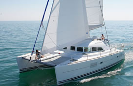 Catamaran charter Greece bareboat skipperd or cewed with skipper and crew Lagoon 380