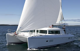 Catamaran charter Greece bareboat skipperd or cewed with skipper and crew Lagoon 420 Hybrid