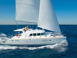 Catamaran charter Greece bareboat skipperd or cewed with skipper and crew Lagoon 440