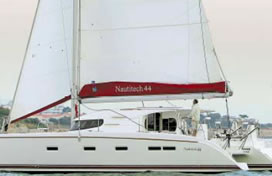 Catamaran charter Greece bareboat skipperd or cewed with skipper and crew Nautitech 44