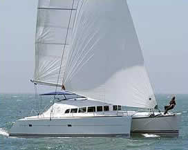 Catamaran charter Greece bareboat skipperd or cewed with skipper and crew Lagoon 410